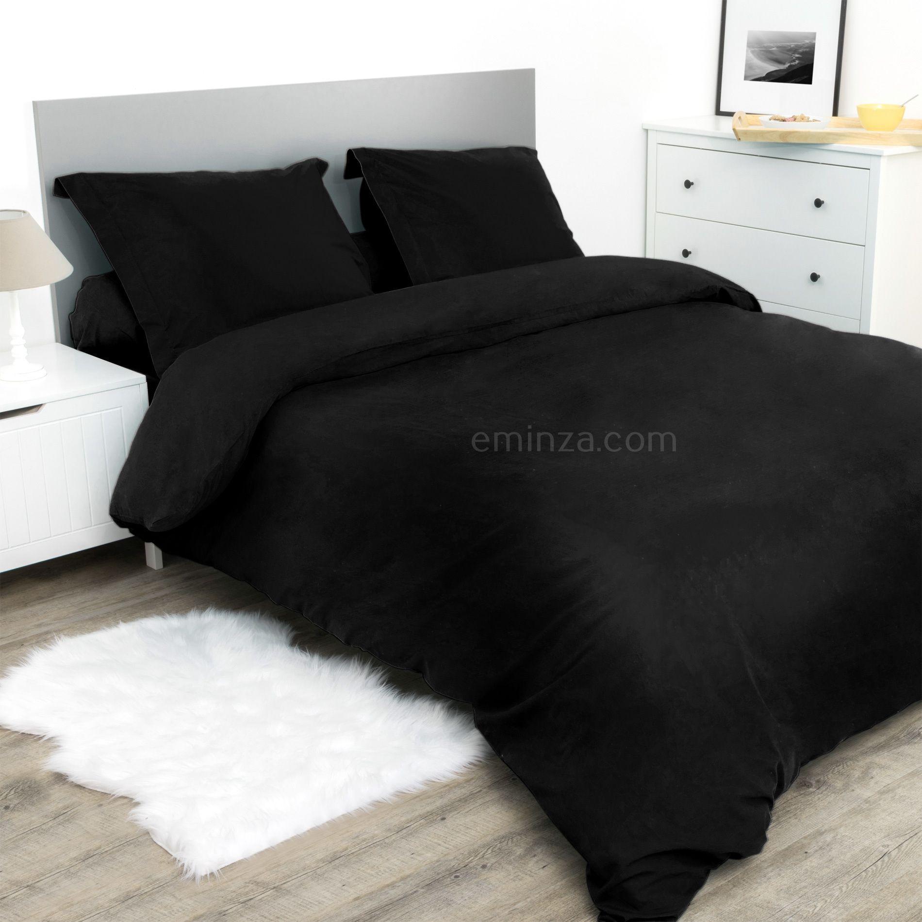 housse de couette 260 cm confort noir housse de couette eminza. Black Bedroom Furniture Sets. Home Design Ideas