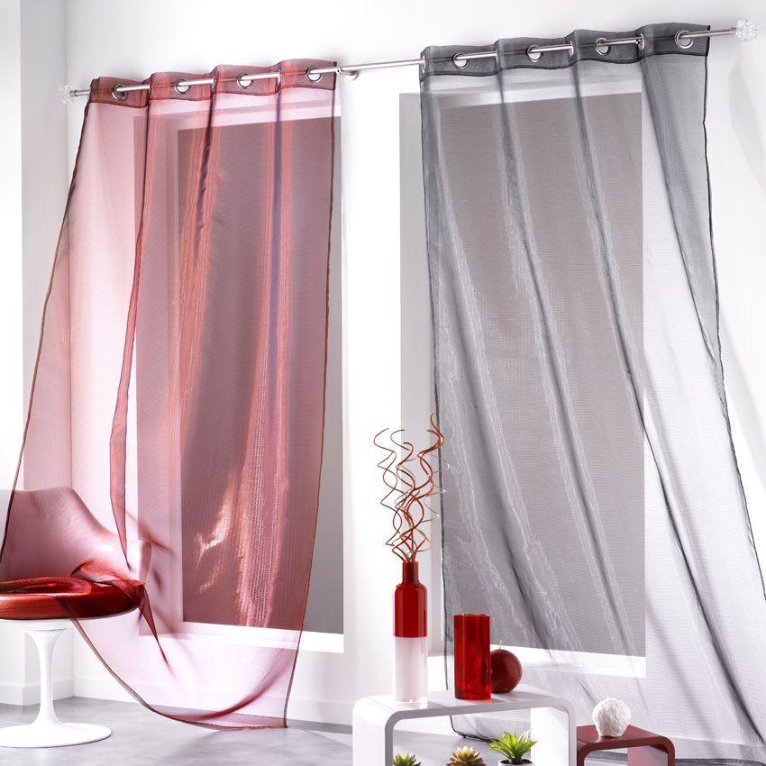 voilage 140 x h240 cm ta ma bordeaux voilage eminza. Black Bedroom Furniture Sets. Home Design Ideas