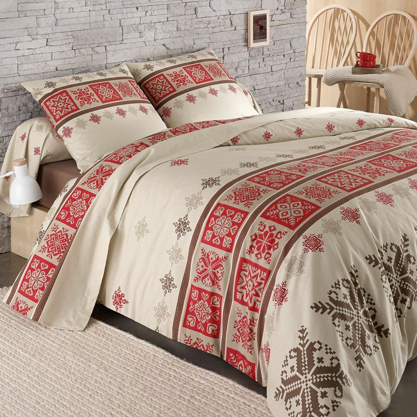 parure de draps 4 pi ces flanelle cork rouge parure de draps eminza. Black Bedroom Furniture Sets. Home Design Ideas