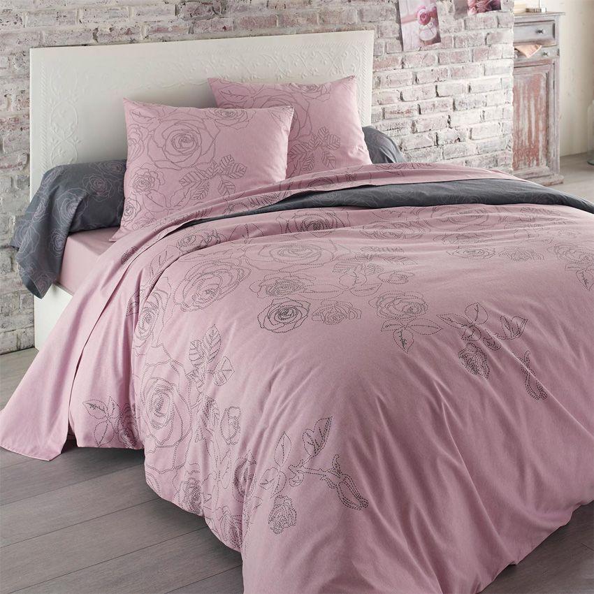 parure de draps 4 pi ces flanelle z lie rose parure de. Black Bedroom Furniture Sets. Home Design Ideas