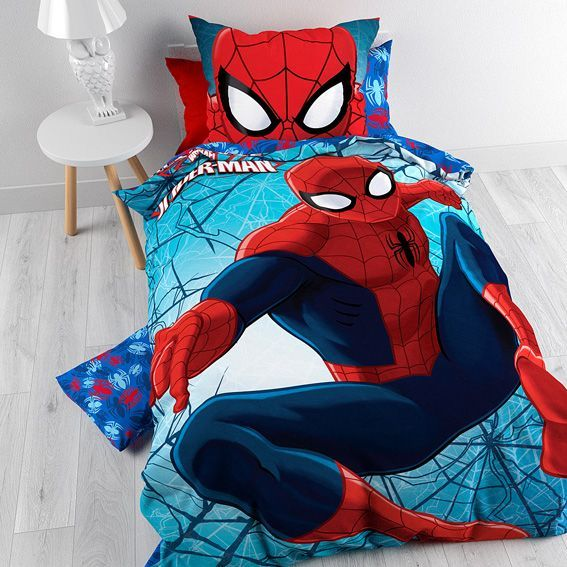 housse de couette et une taie 140 cm spiderman housse de couette eminza. Black Bedroom Furniture Sets. Home Design Ideas