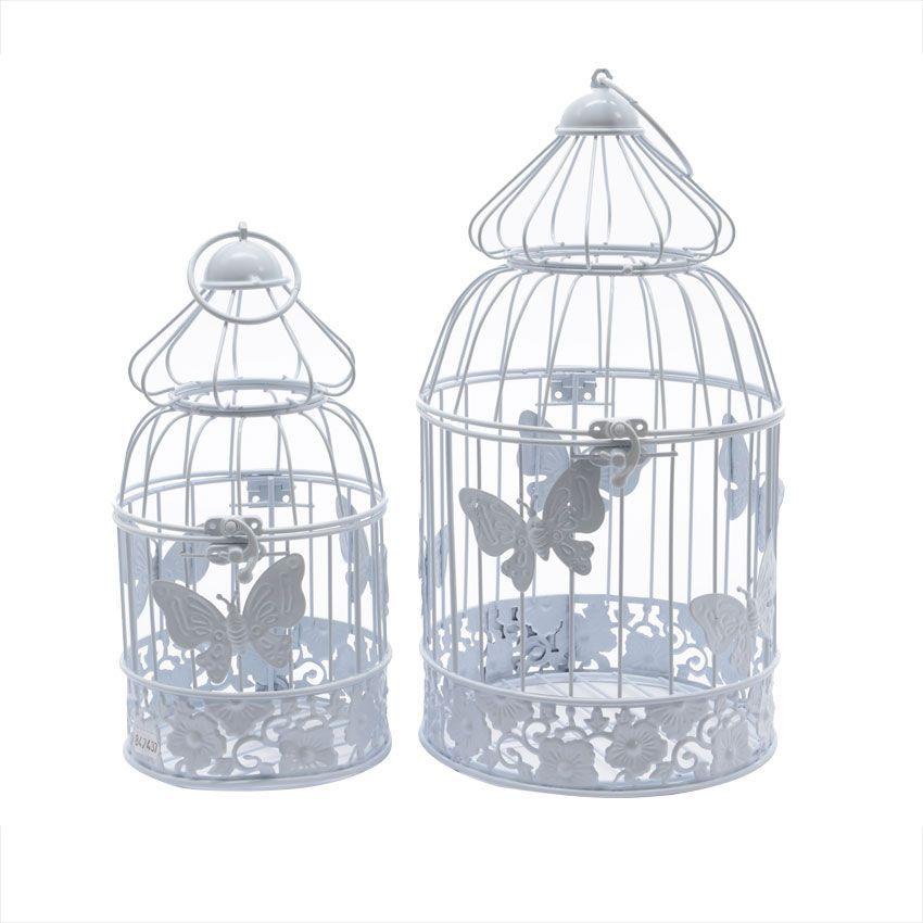 Lot de 2 cages d 39 oiseaux papillons blanc d coration de for Decoration jardin oiseau metal