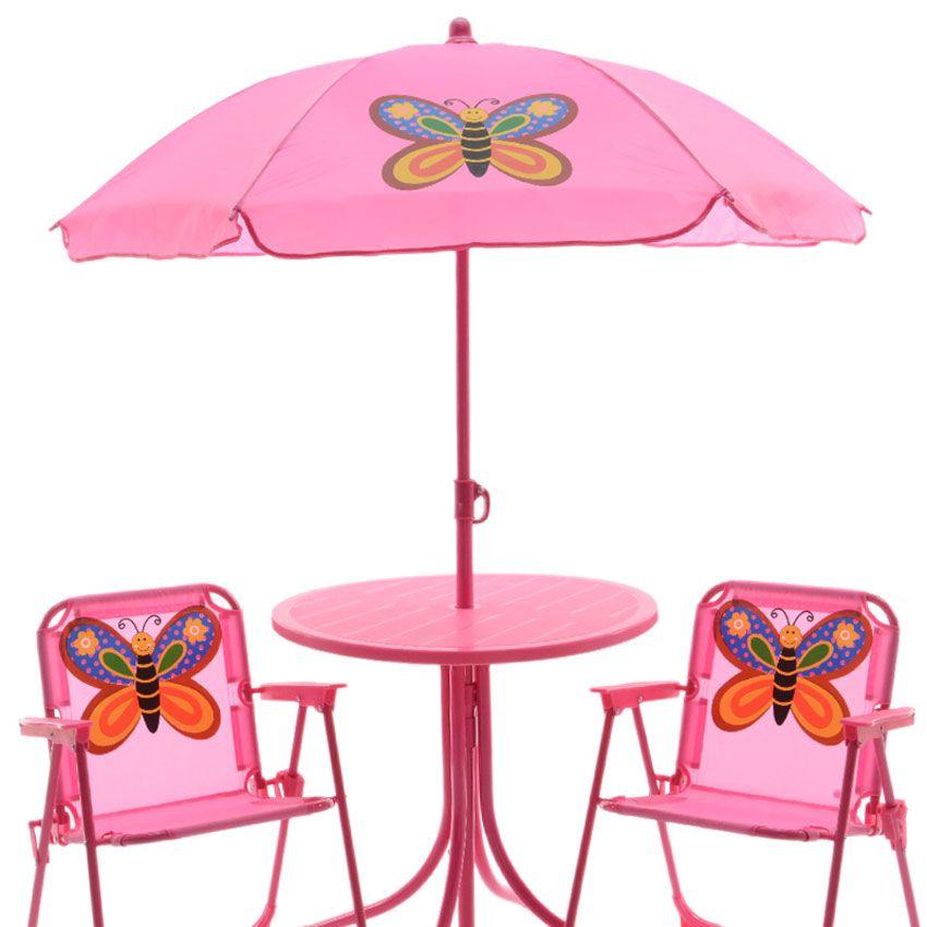 salon de jardin pour enfant papillon rose mobilier. Black Bedroom Furniture Sets. Home Design Ideas