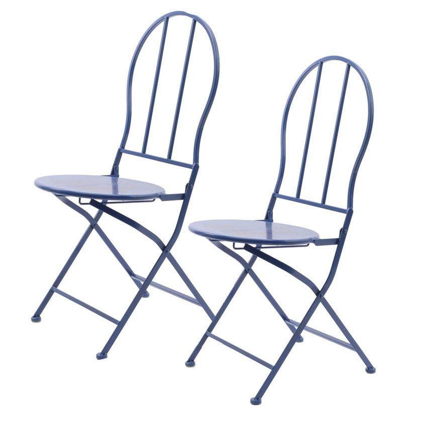 Lot de 2 chaises de jardin pliantes london chaise et - Lot table et chaises ...