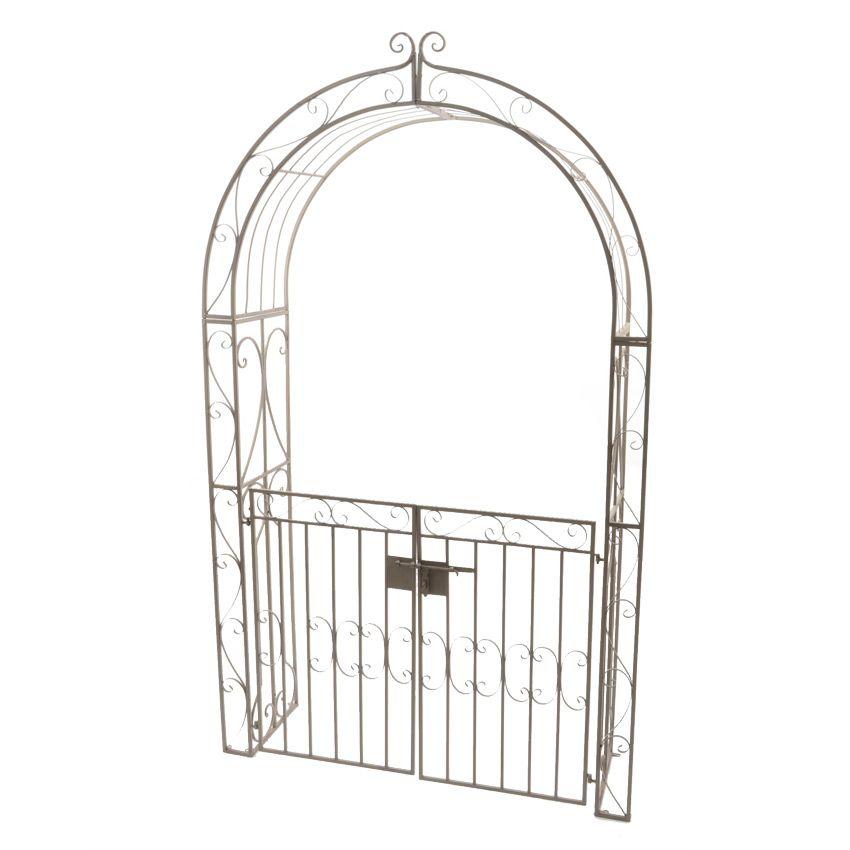 Arche de jardin lina style fer forg brun blanchi meuble for Arche de jardin fer forge