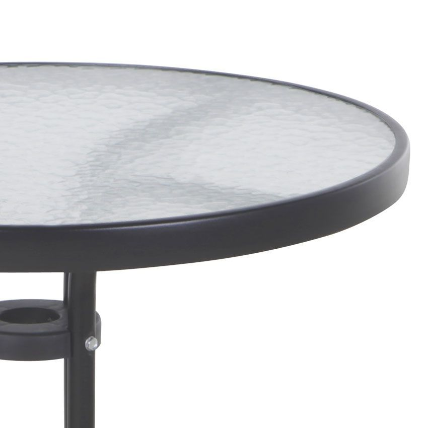 Table de jardin en verre ronde rosa d60 cm noir table de jardin eminza for Plaque verre table