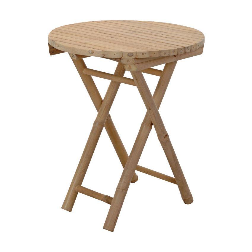 Table d 39 appoint pliante bambou ronde meuble d 39 appoint - Table appoint pliante ...