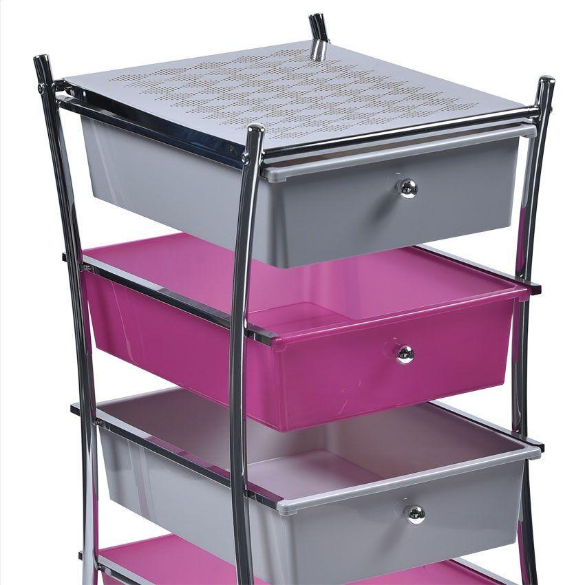 Meuble sur roulette soho rose meuble bas eminza - Meuble salle de bain rose ...