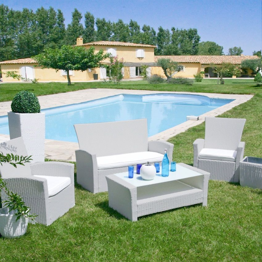 Salon de jardin ibiza blanc perle 4 places salon de for Salon de jardin gonflable