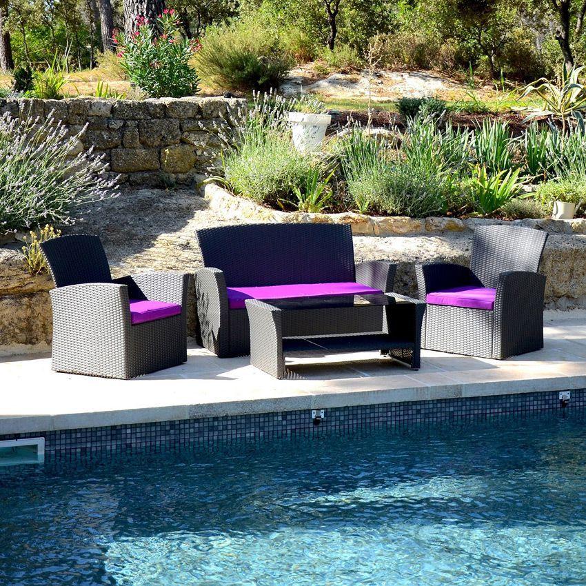 Salon de jardin Ibiza Anthracite/Violet - 4 places - Salon de ...