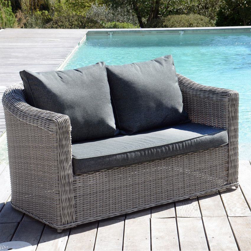 Canap de jardin 2 places giglio gris gris anthracite for Canape salon de jardin
