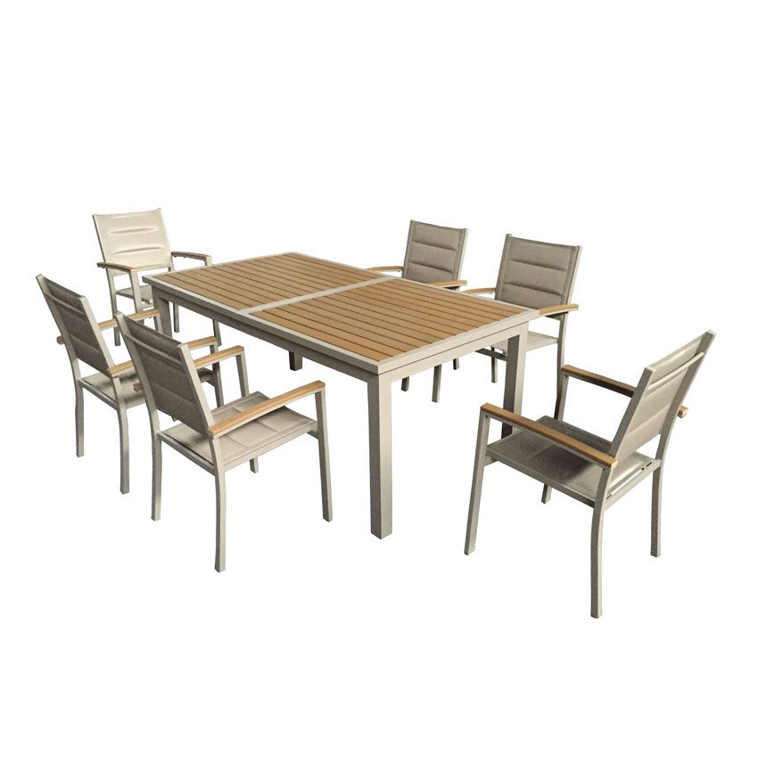 Stunning table de jardin extensible alu et composite - Table salon de jardin alu et composite ...