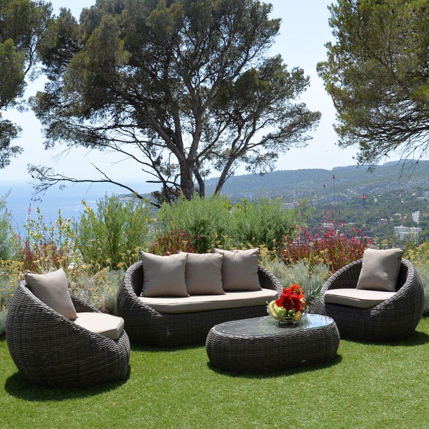 Salon de jardin Morea Sepia/Taupe - 4 places - Salon de jardin ...