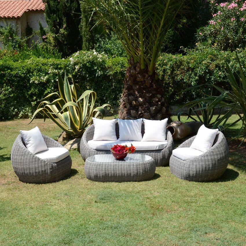 Salon de jardin Morea Gris/Ecru - 4 places - Salon de jardin - Eminza