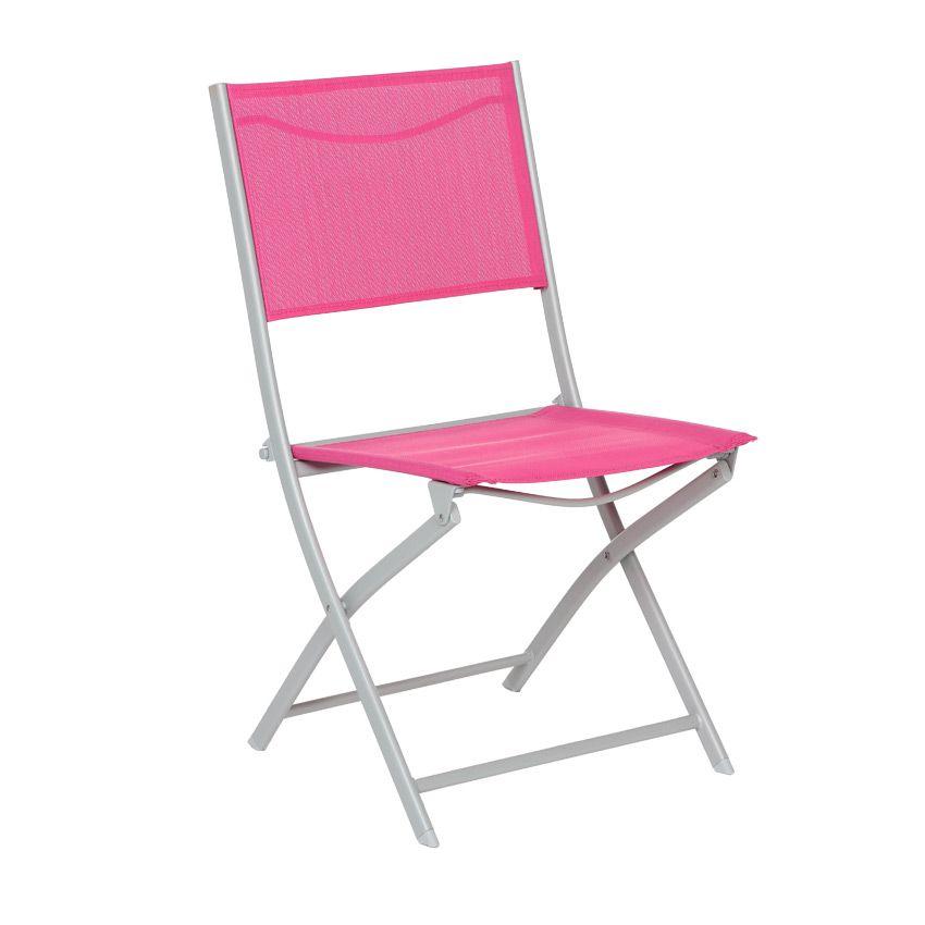 Chaise de jardin modula framboise argent chaise et for Chaise et fauteuil de jardin