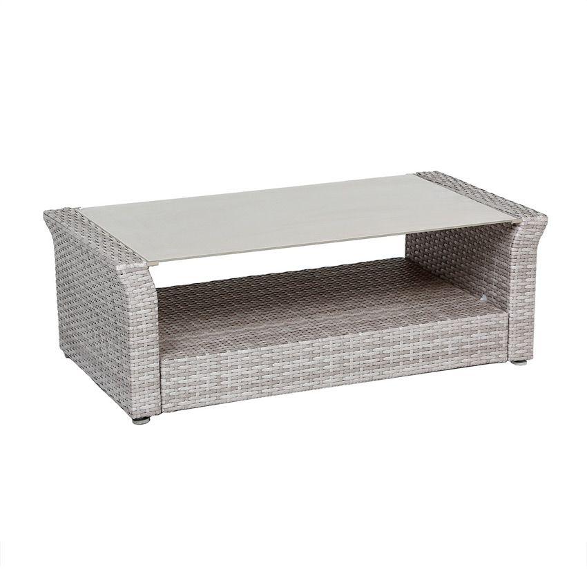 Salon de jardin bora bora gris clair 4 places salon de for Table jardin gris clair
