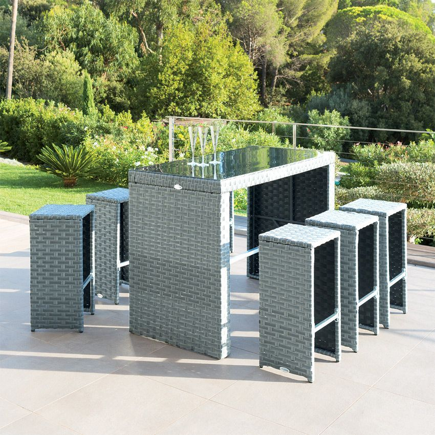 salon de jardin haut tinos blue stone gris 6 personnes. Black Bedroom Furniture Sets. Home Design Ideas