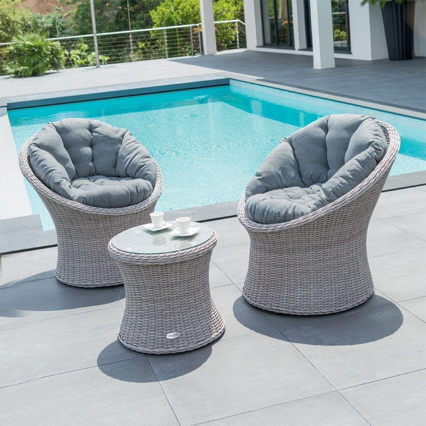 Salon de jardin manille gris clair 2 places salon de for Decoration jardin gris