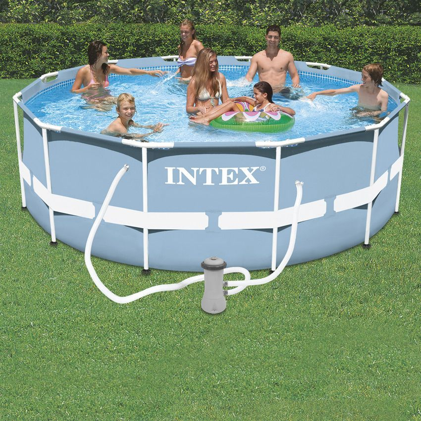 Piscine tubulaire ronde intex prism frame 3 66 x 1 22 m for Piscine gonflable intex ronde