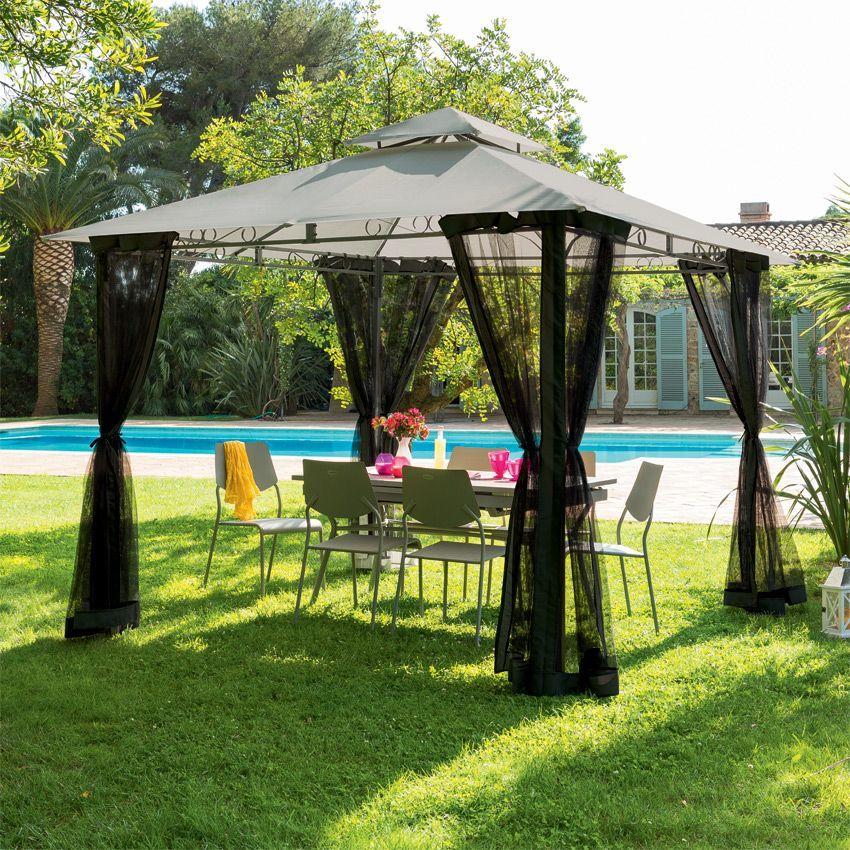 toile de tonnelle fogo 3 x l3 m ardoise structure toile et rideaux eminza. Black Bedroom Furniture Sets. Home Design Ideas