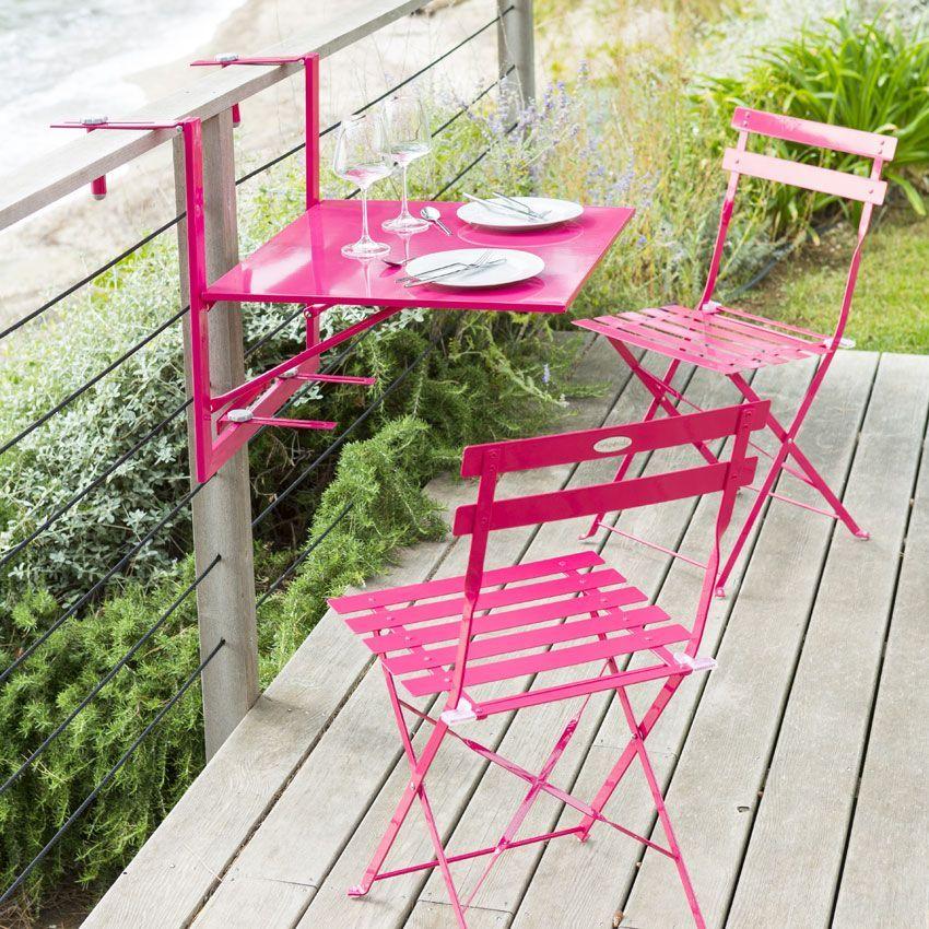tablette de balcon rabattable camargue 60 x 53 cm framboise table de jardin eminza. Black Bedroom Furniture Sets. Home Design Ideas