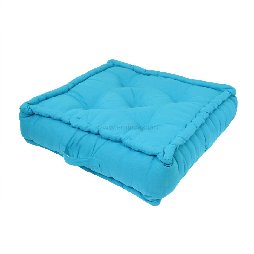 grand coussin de sol 60 cm turquoise coussin de sol et pouf eminza. Black Bedroom Furniture Sets. Home Design Ideas