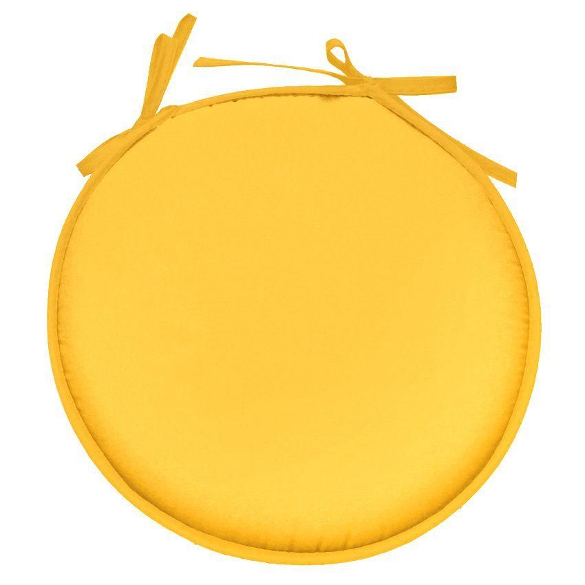 galette de chaise ronde jaune. Black Bedroom Furniture Sets. Home Design Ideas