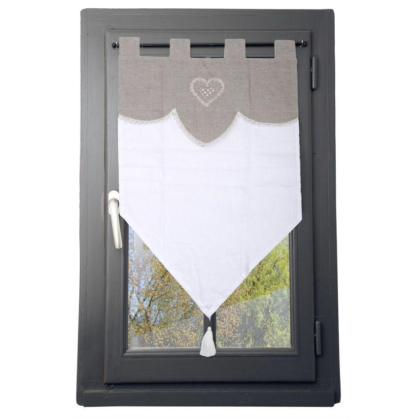 voilage vitrage 45 x h60 cm verone adige lin voilage. Black Bedroom Furniture Sets. Home Design Ideas
