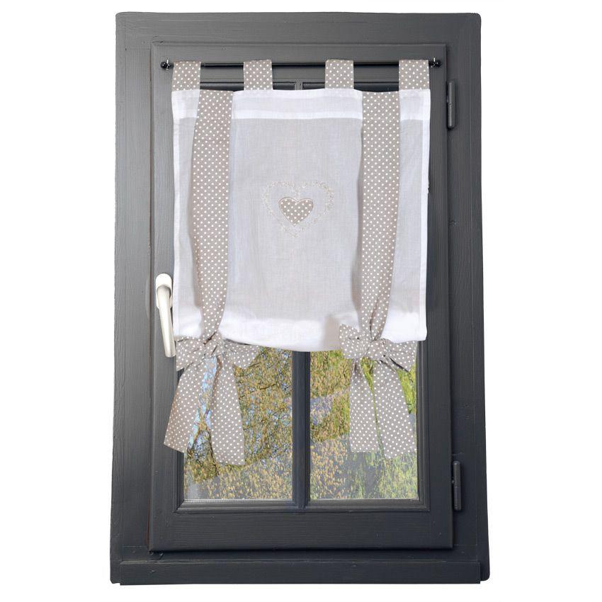 Voilage vitrage 60 x 140 cm verone ruban lin voilage for Voilage cuisine 60 x 90