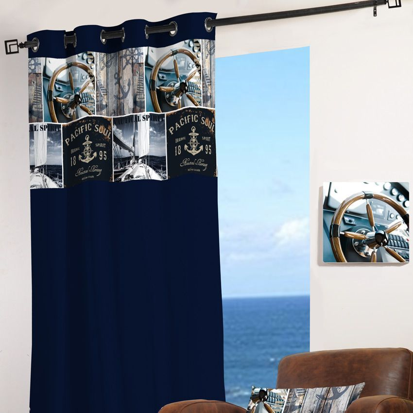 rideau 135 x h260 cm sailor bleu marine rideau. Black Bedroom Furniture Sets. Home Design Ideas