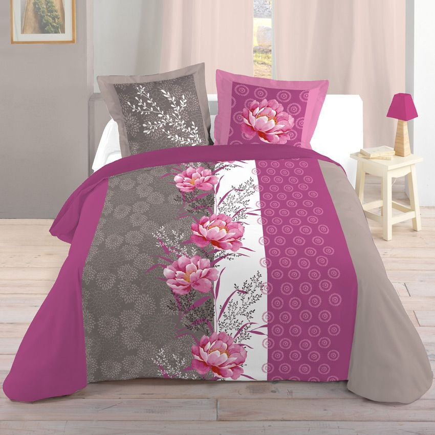 housse de couette et deux taies 260 cm jinan rose housse de couette eminza. Black Bedroom Furniture Sets. Home Design Ideas