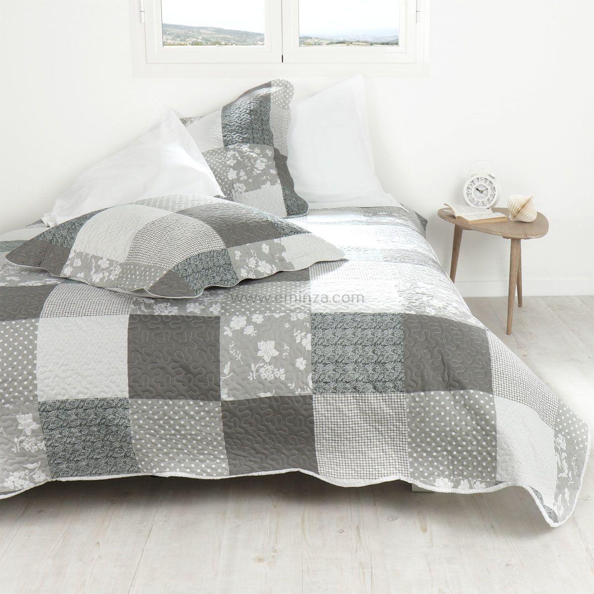 boutis et taies d 39 oreiller 220 x 240 cm mistra gris couvre lit boutis eminza. Black Bedroom Furniture Sets. Home Design Ideas