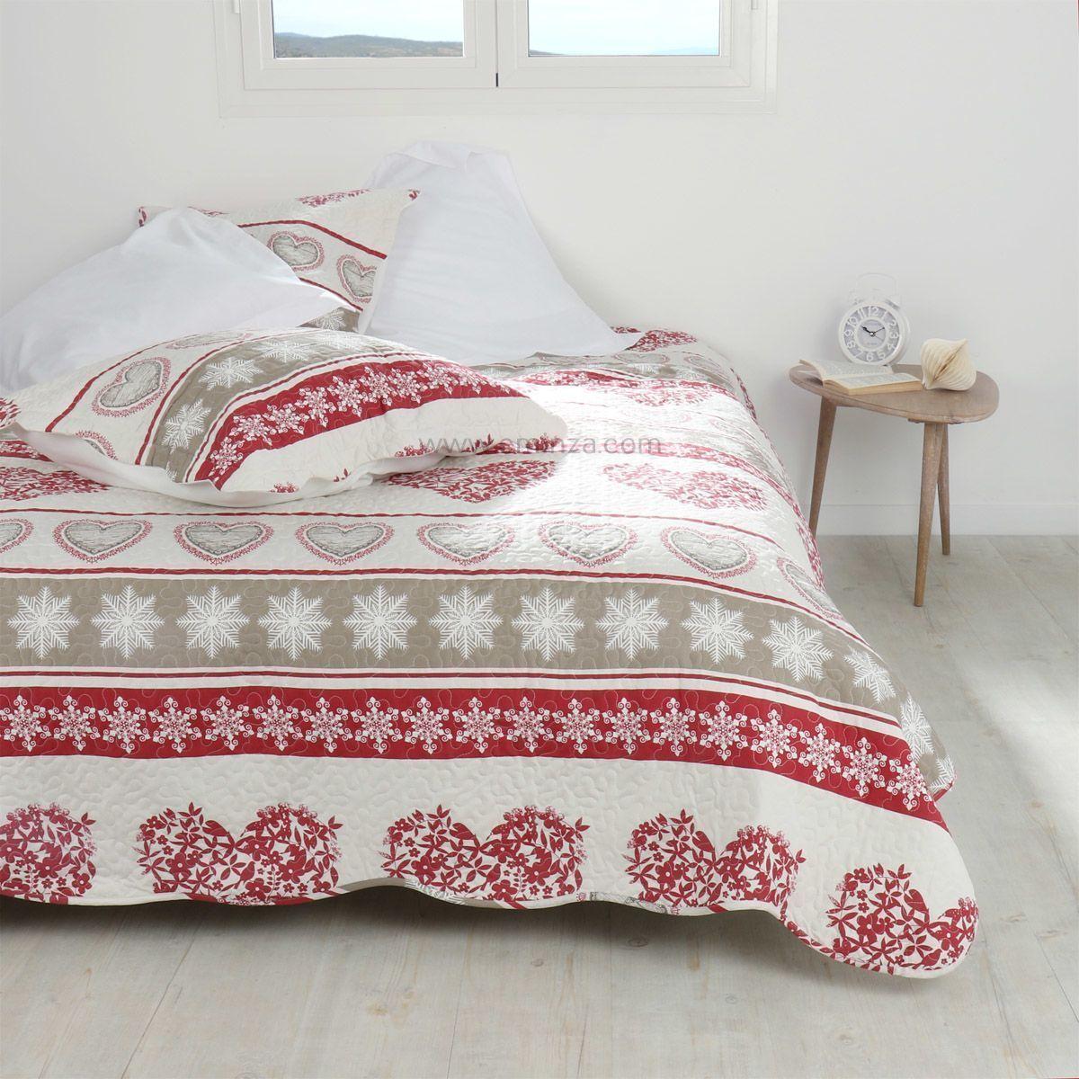 boutis et taies d 39 oreiller 220 x 240 cm balme rouge couvre lit boutis eminza. Black Bedroom Furniture Sets. Home Design Ideas