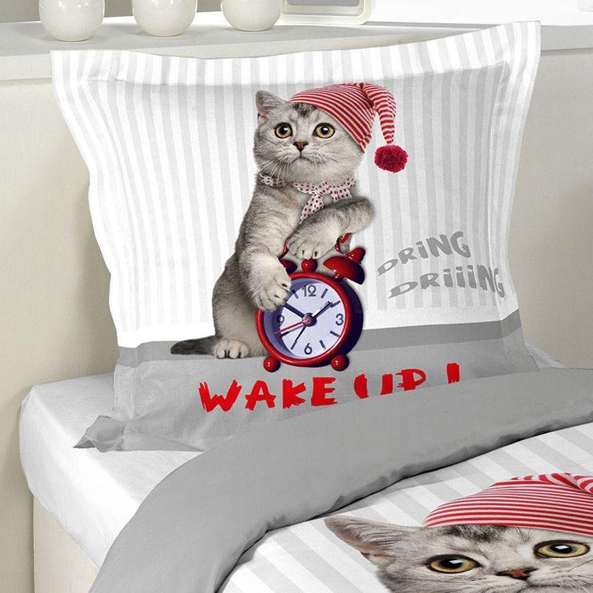 Housse de couette et une taie 140 cm cat wake up for Repasser une housse de couette