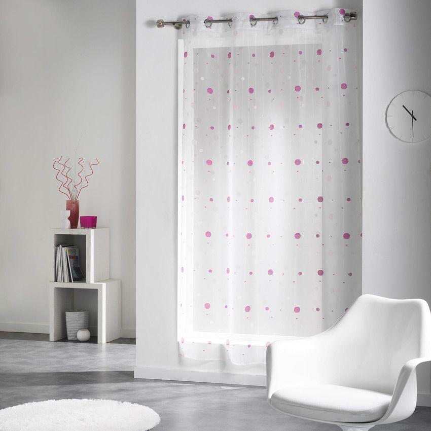 voilage 140 x h240 cm yoyo rose voilage eminza. Black Bedroom Furniture Sets. Home Design Ideas