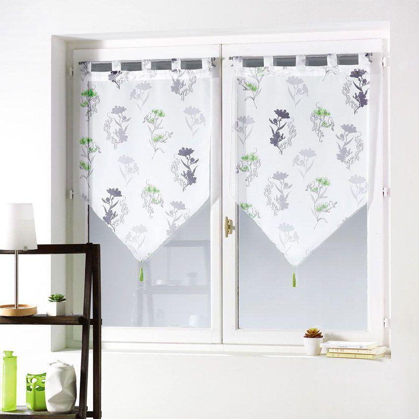 paire de voilages 60 x h120 cm pompon nelia anis rideau et voilage eminza. Black Bedroom Furniture Sets. Home Design Ideas