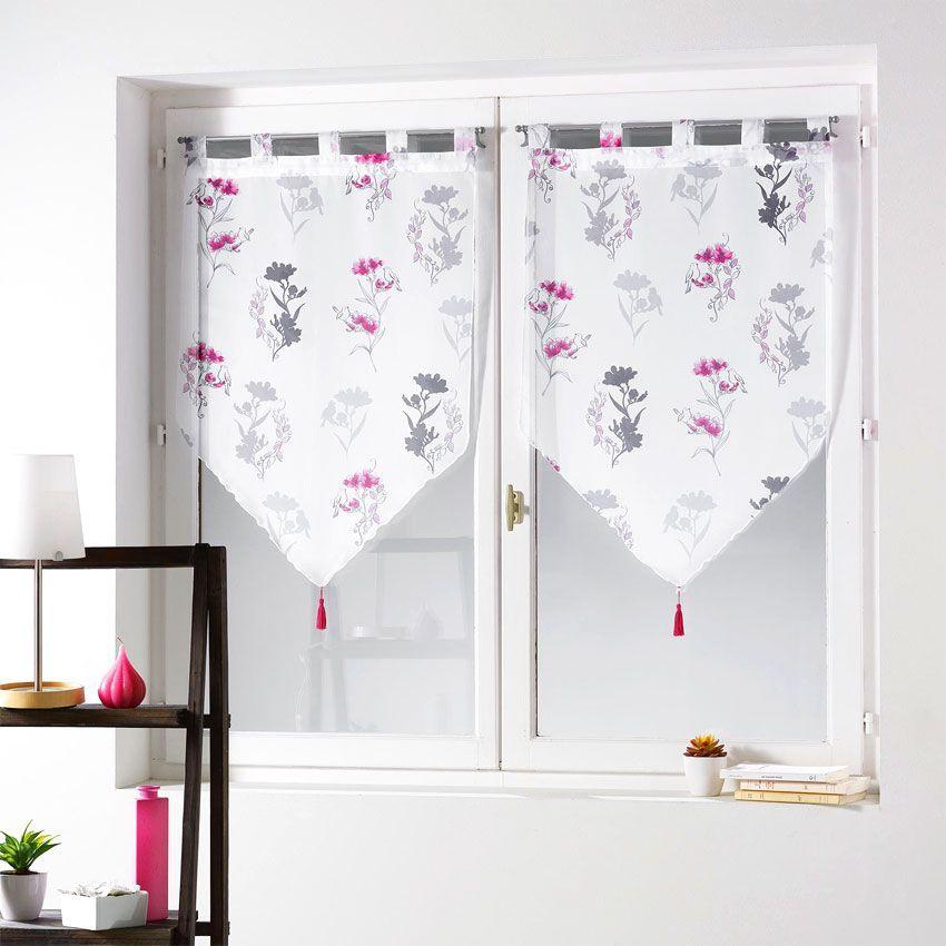 paire de voilages 60 x h160 cm pompon nelia fuchsia rideau et voilage eminza. Black Bedroom Furniture Sets. Home Design Ideas