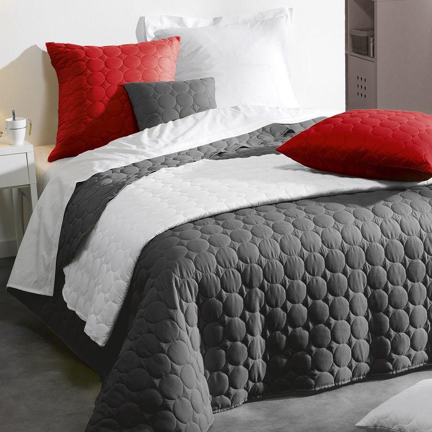 couvre lit 220 x 240 cm candy anthracite couvre lit boutis eminza. Black Bedroom Furniture Sets. Home Design Ideas