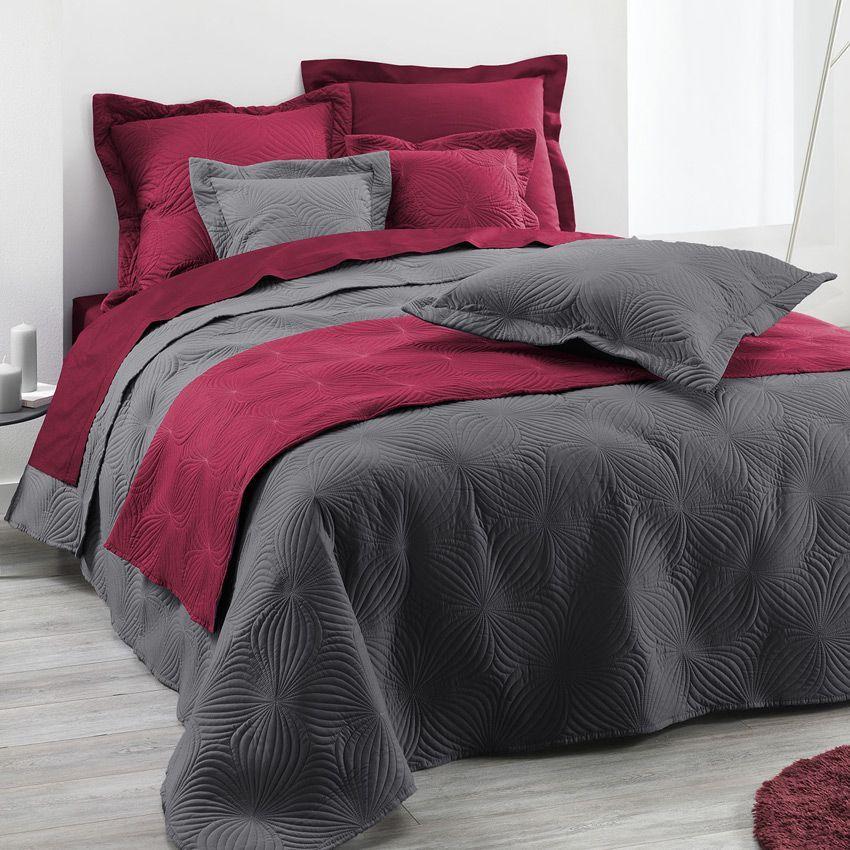 couvre lit 220 x 240 cm florencia anthracite couvre lit boutis eminza. Black Bedroom Furniture Sets. Home Design Ideas