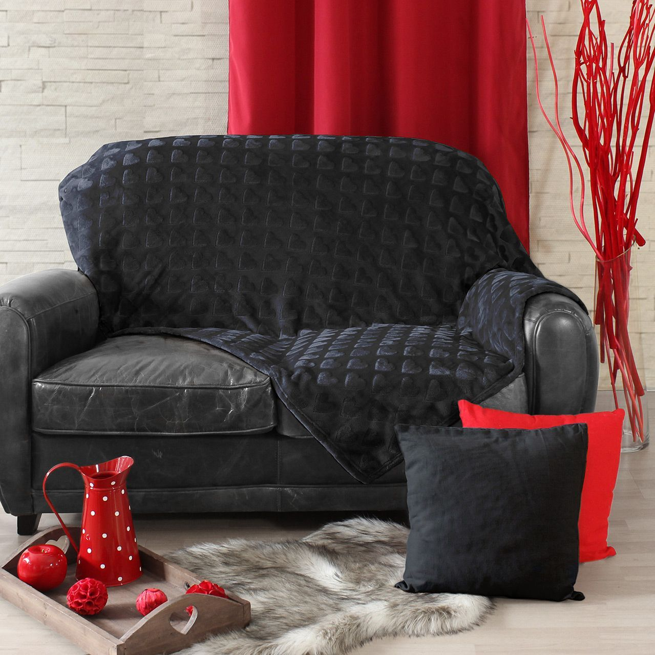 plaid polaire c ur flanelle anthracite plaid cocooning. Black Bedroom Furniture Sets. Home Design Ideas