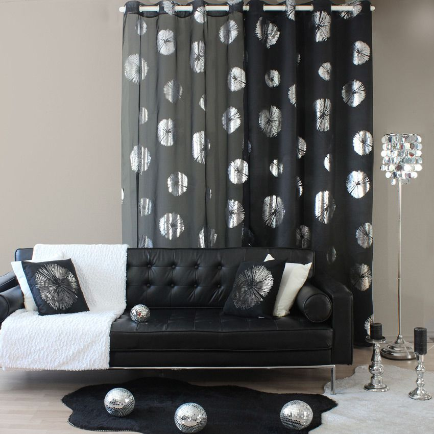 rideau occultant x h cm fossil noir with rideau occultant design. Black Bedroom Furniture Sets. Home Design Ideas