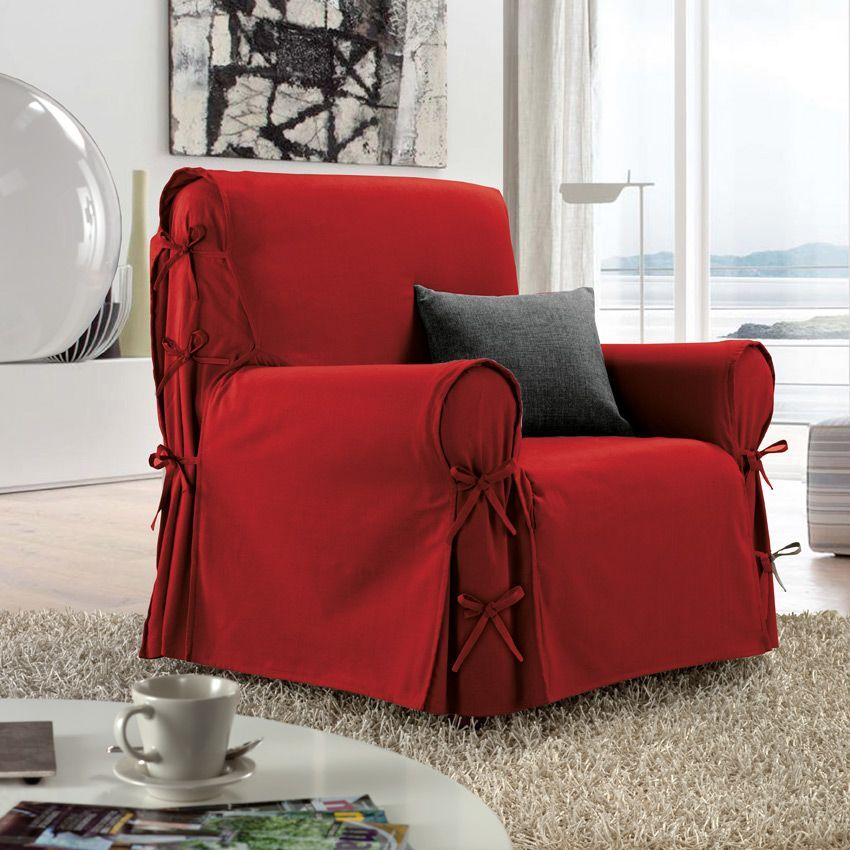 housse de fauteuil victoria rouge housse de fauteuil eminza. Black Bedroom Furniture Sets. Home Design Ideas
