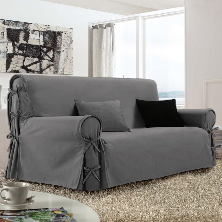 Housse de canap 3 places victoria gris housse de canap for Canape 3 places gris