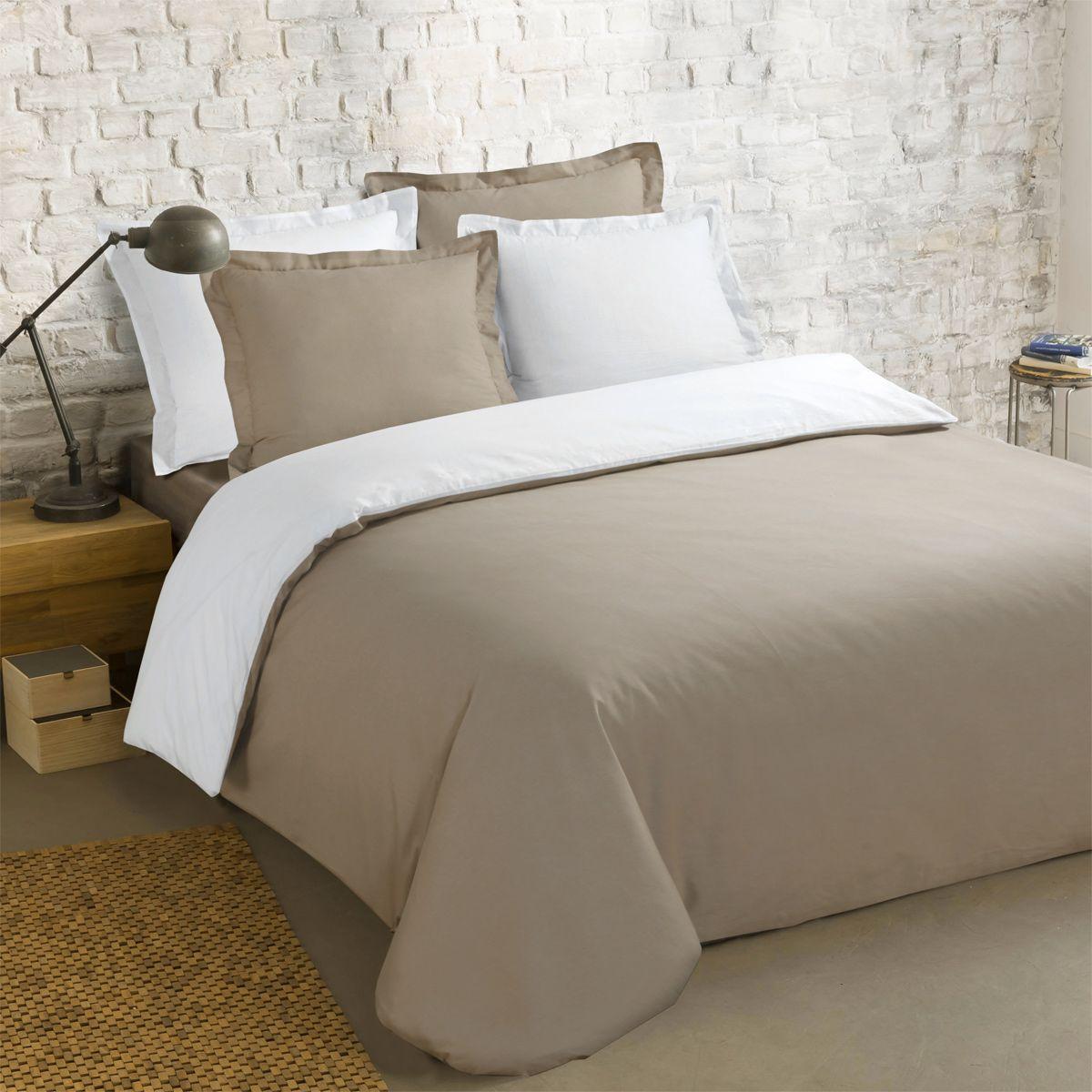 housse de couette et deux taies 260 cm bi color taupe et. Black Bedroom Furniture Sets. Home Design Ideas