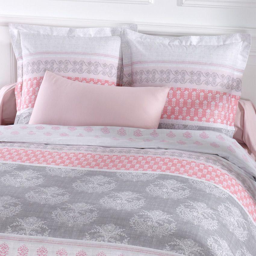 housse de couette et deux taies 260 cm romane rose. Black Bedroom Furniture Sets. Home Design Ideas