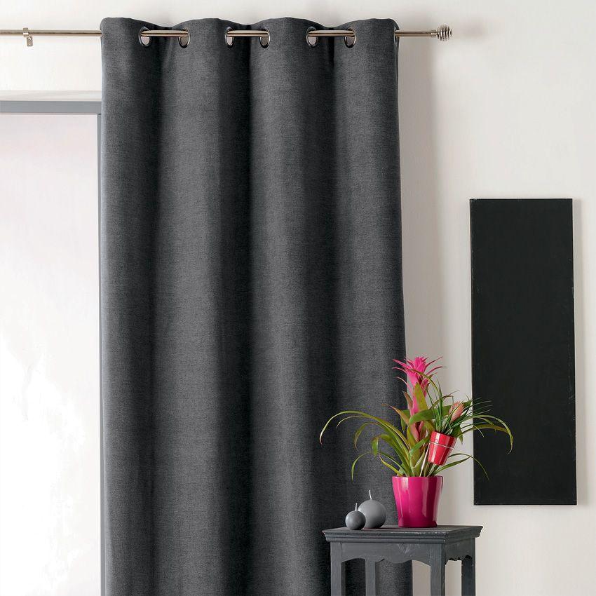 rideau occultant isolant 140 x h260 cm alaska anthracite. Black Bedroom Furniture Sets. Home Design Ideas