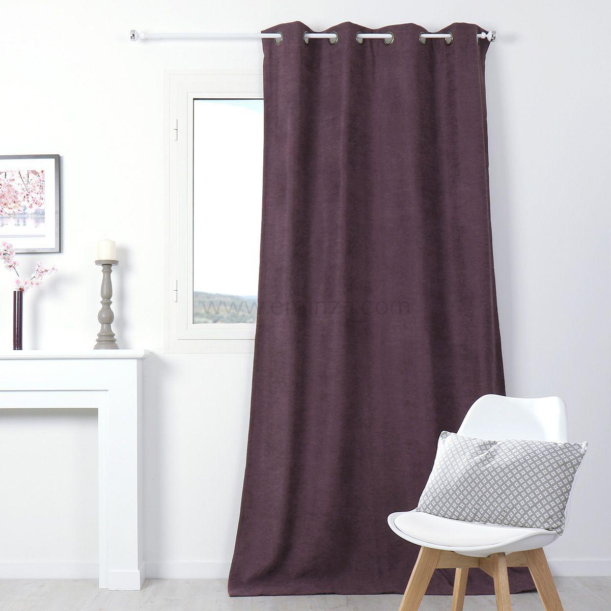 latest rideau occultant isolant x h cm alaska aubergine. Black Bedroom Furniture Sets. Home Design Ideas