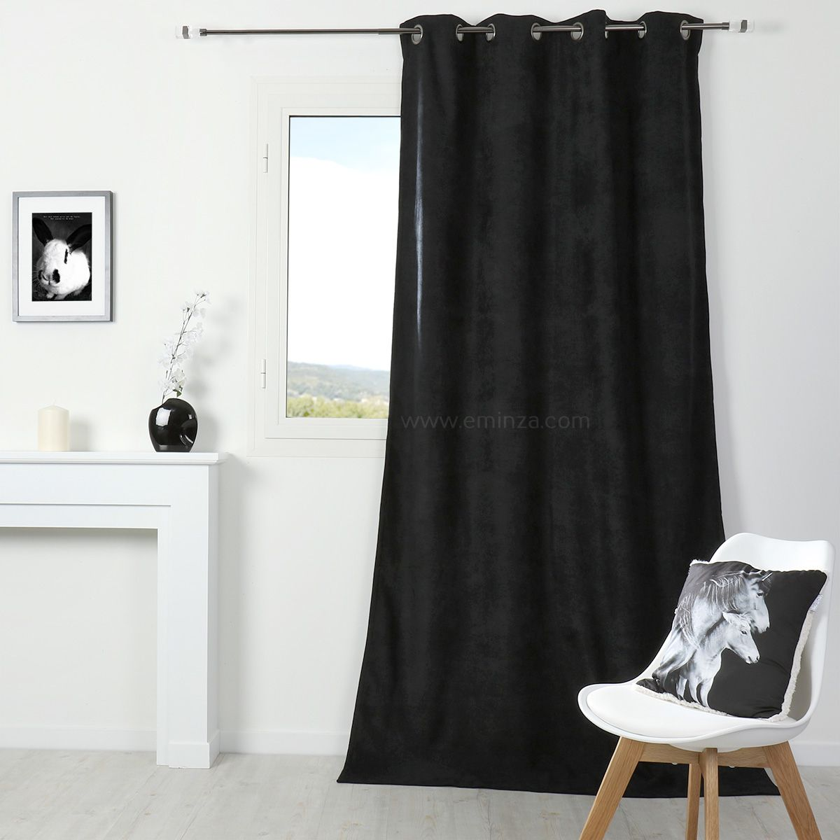 Rideau occultant isolant 140 x h260 cm alaska noir for Bar noir at maison 140