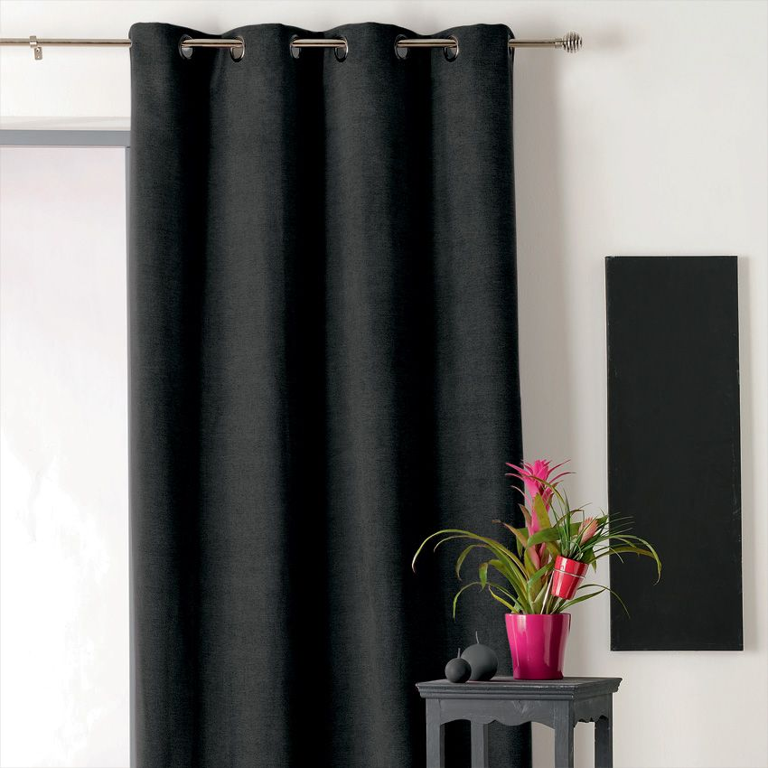 rideau occultant isolant 140 x h260 cm alaska noir. Black Bedroom Furniture Sets. Home Design Ideas