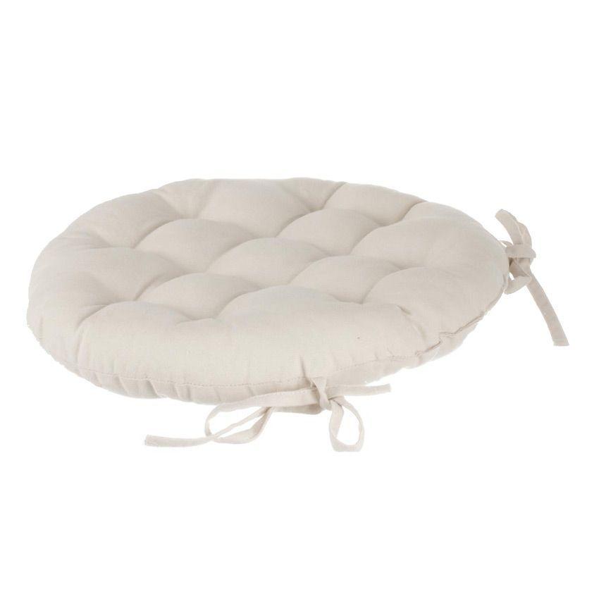 coussin de chaise ronde lina ivoire galette et coussin de chaise eminza. Black Bedroom Furniture Sets. Home Design Ideas
